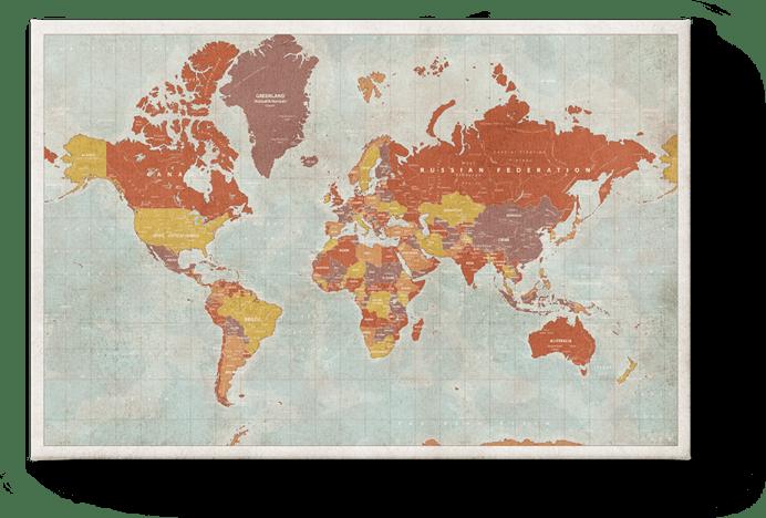 Weltkarte Vintage Rot