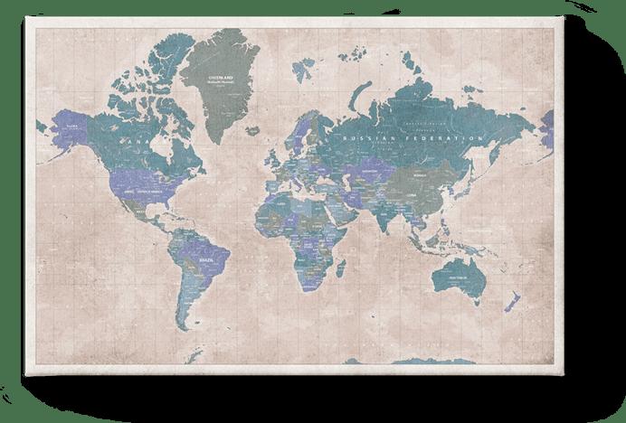 Weltkarte Vintage Blau