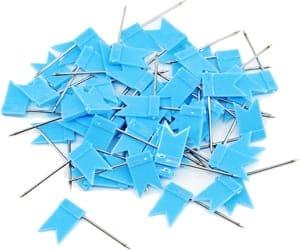 Blaue Fähnchen-Stecknadeln